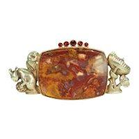 Antique Agate Garnet Squirrel Mushroom Brooch Pin 14k Gold
