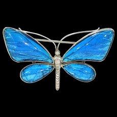 Antique Silver Butterfly Brooch Pin Blue Wings