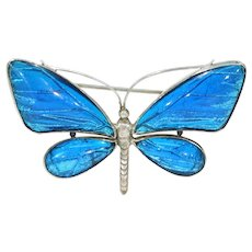 Antique Silver Butterfly Brooch Pin Blue Wings