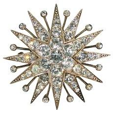 Stunning Victorian Paste Silver Star Brooch
