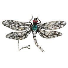 Antique Edwardian Silver Paste Dragonfly Brooch