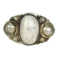 Antique Arts and Crafts Shell Silver Brooch with Roses
