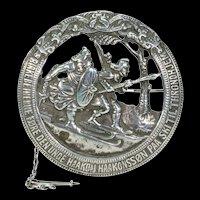 Antique Commemoritive Silver Danish Battle Brooch Pin