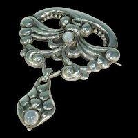 Antique Silver Moonstone Skonvirke Brooch by William Fuglede