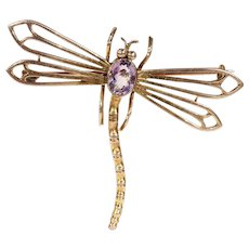 Antique Edwardian Gold Dragonfly Brooch Pin with Amethyst