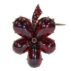 Antique Victorian Garnet Pansy Brooch Pin