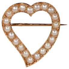 Antique French Pearl Witches Heart Brooch 18k Gold