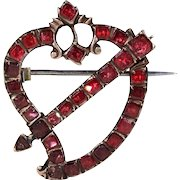 Rare Early Georgian Witches Heart with Arrow Garnet Brooch Pin