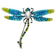Arts & Crafts Enamel Silver Dragonfly Brooch Pin by Murrle, Bennett & Co