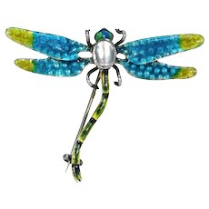 Arts & Crafts Enamel Silver Dragonfly Brooch Pin by Murrle, Bennett & Co
