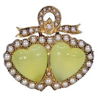 Victorian Chrysoberyl Pearl Double Heart Brooch Pin
