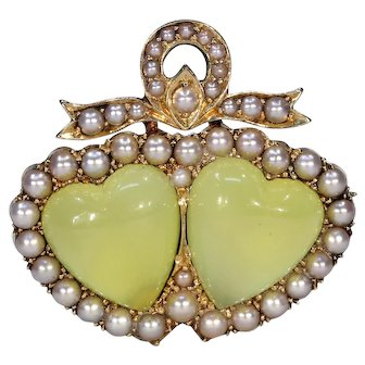Victorian Chrysoberyl Pearl Double Heart Brooch Pin