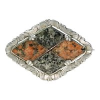 Victorian Scottish Granite Silver Brooch Dated 1867
