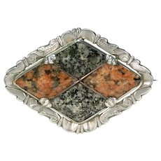 Victorian Scottish Granite Silver Brooch Dated 1867