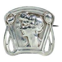 Art Nouveau Woman in Profile Silver Brooch Pin