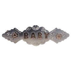 Antique Victorian Silver Baby Brooch Gold Letters