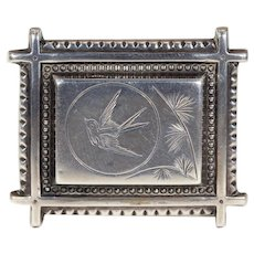 Victorian Silver Engraved Bird Brooch Swallow