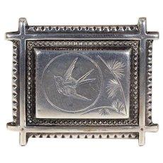 Victorian Engraved Bird Brooch Swallow