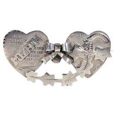 Edwardian Mizpah Double Heart Brooch Silver