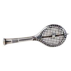 Victorian Silver Niello Tennis Racquet Brooch