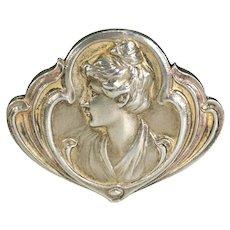 Art Nouveau Jugendstil Silver Brooch Pin Woman in Profile