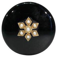 Antique Gold Black Onyx Pearl Memorial Brooch Pin 18kt