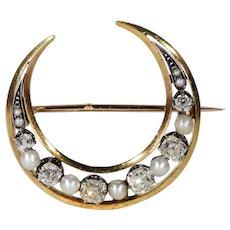 Antique French Diamond Pearl Crescent Brooch Pendant