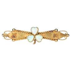 15k Gold Victorian Opal Brooch Pin Clover Leaf Lucky