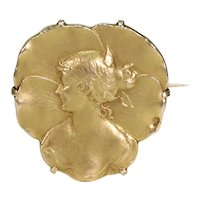 French Art Nouveau 18k Gold Brooch Pin Woman in Profile
