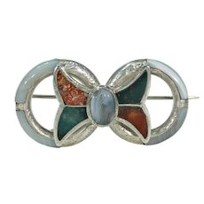Victorian Scottish Pebble Brooch Pin Silver Bow Agate
