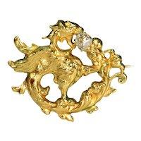 Antique 18k Gold Rose Cut Diamond Griffin Brooch Pin