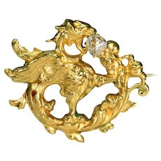 Antique 18k Gold Rose Cut Diamond Griffin Brooch Pin