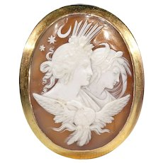 Antique Victorian Night and Day Cameo Brooch Pin Gold Frame