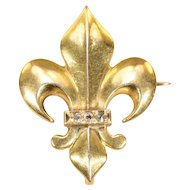 Antique 18k Gold Fleur-de-Lis Brooch Pin Watch Hanger with Rose Cut Diamonds