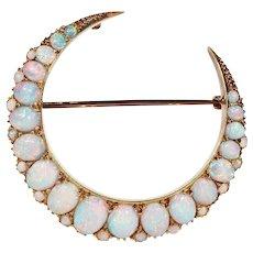 Stunning Antique Opal Crescent Brooch Pendant