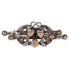 Victorian Silver Double Heart Flower Brooch Pin