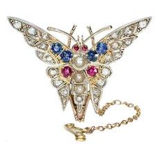 Art Deco Ruby Diamond Sapphire Pearl Brooch Pin Butterfly