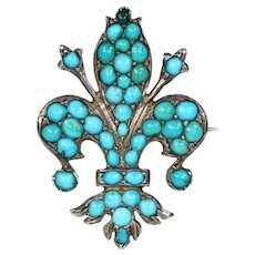 Victorian Silver Turquoise Fleur de Lis Brooch Pin