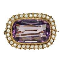 Antique Victorian Amethyst Pearl Brooch Pin Gold