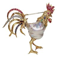 1940s Baroque Pearl and Gemstone Rooster Brooch in 18 Karat Gold