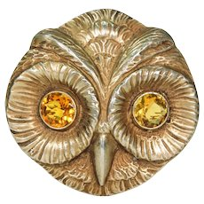 Vintage Owl Brooch Pin Art Deco with Paste Eyes