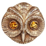 Vintage German Owl Brooch Pin in Silver Gilt