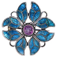 Arts & Crafts Enamel Amethyst Brooch Pin Jessie M. King