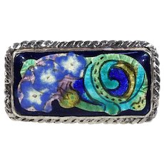 Vintage Arts & Crafts Enamel Silver Brooch Iris