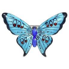 Edwardian Enamel Butterfly Brooch Pin Silver John Atkins & Sons
