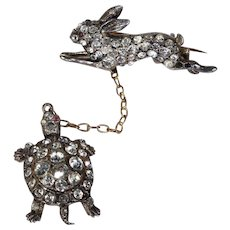 Antique Tortoise and Hare Brooch Pin Paste Victorian Silver and Gold