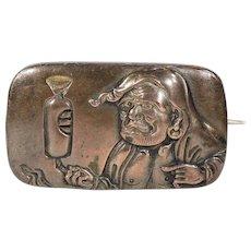 Antique Victorian Shakudo Brooch Pin in Box