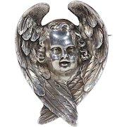 Victorian Silver Angel Brooch Pin Cherub Wings