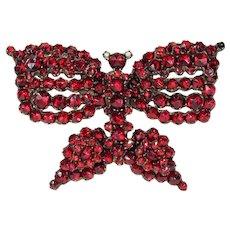 Antique Victorian Garnet Butterfly Brooch Pin Bohemian