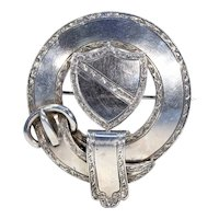Scottish Victorian Shield and Garter Silver Brooch Pin
